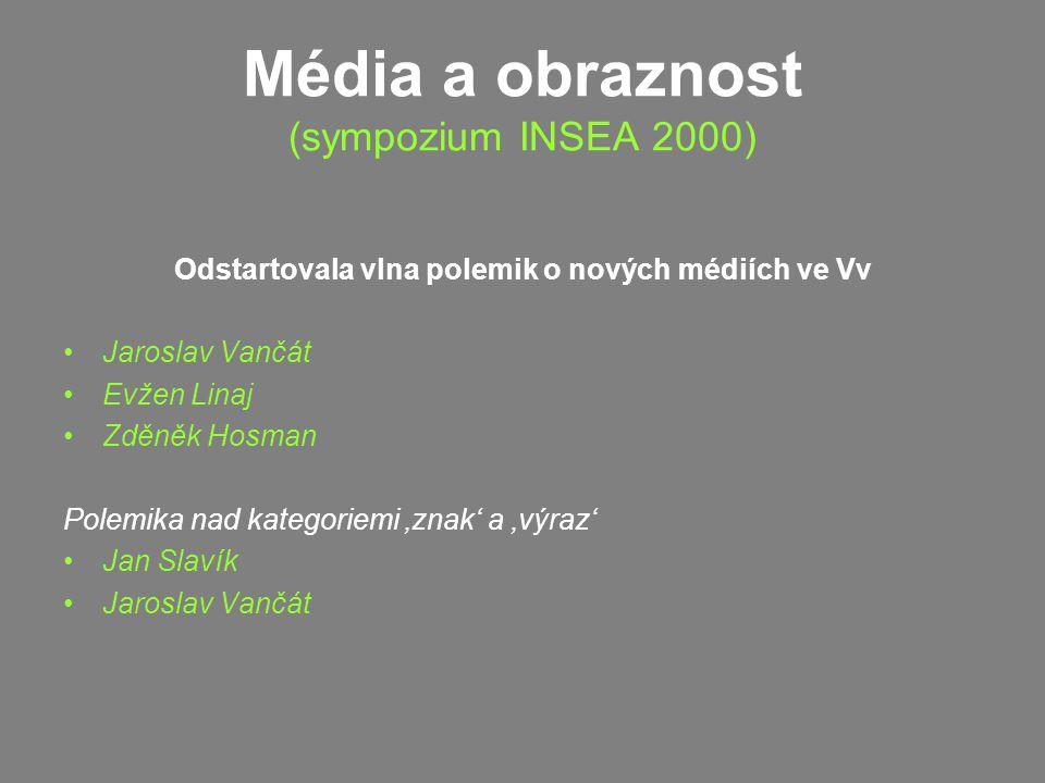 Média a obraznost (sympozium INSEA 2000) Odstartovala vlna polemik o nových médiích ve Vv Jaroslav Vančát Evžen Linaj Zděněk Hosman Polemika nad kategoriemi 'znak' a 'výraz' Jan Slavík Jaroslav Vančát