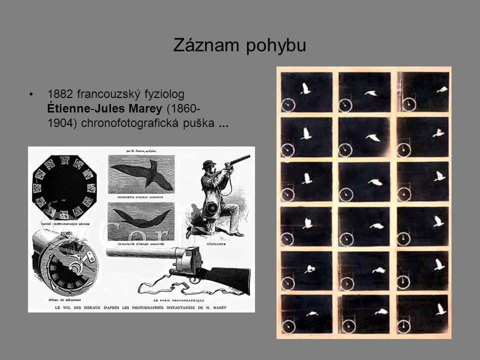 Záznam pohybu 1882 francouzský fyziolog Étienne-Jules Marey (1860- 1904) chronofotografická puška...