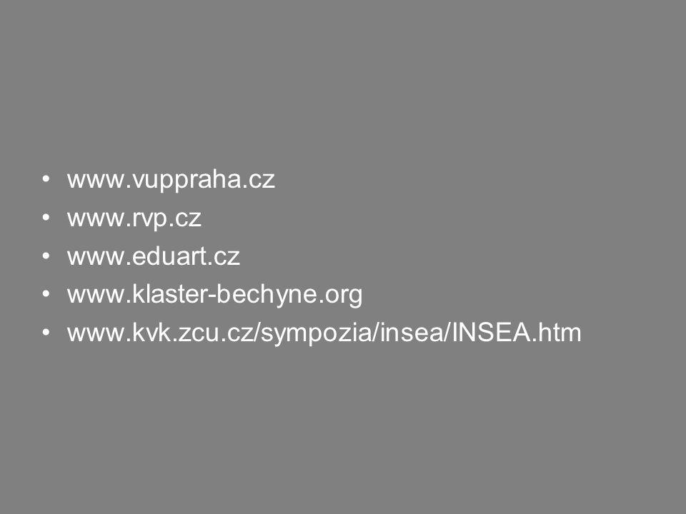 www.vuppraha.cz www.rvp.cz www.eduart.cz www.klaster-bechyne.org www.kvk.zcu.cz/sympozia/insea/INSEA.htm