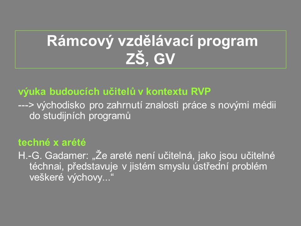 Rámcový vzdělávací program ZŠ, GV výuka budoucích učitelů v kontextu RVP ---> východisko pro zahrnutí znalosti práce s novými médii do studijních programů techné x arété H.-G.