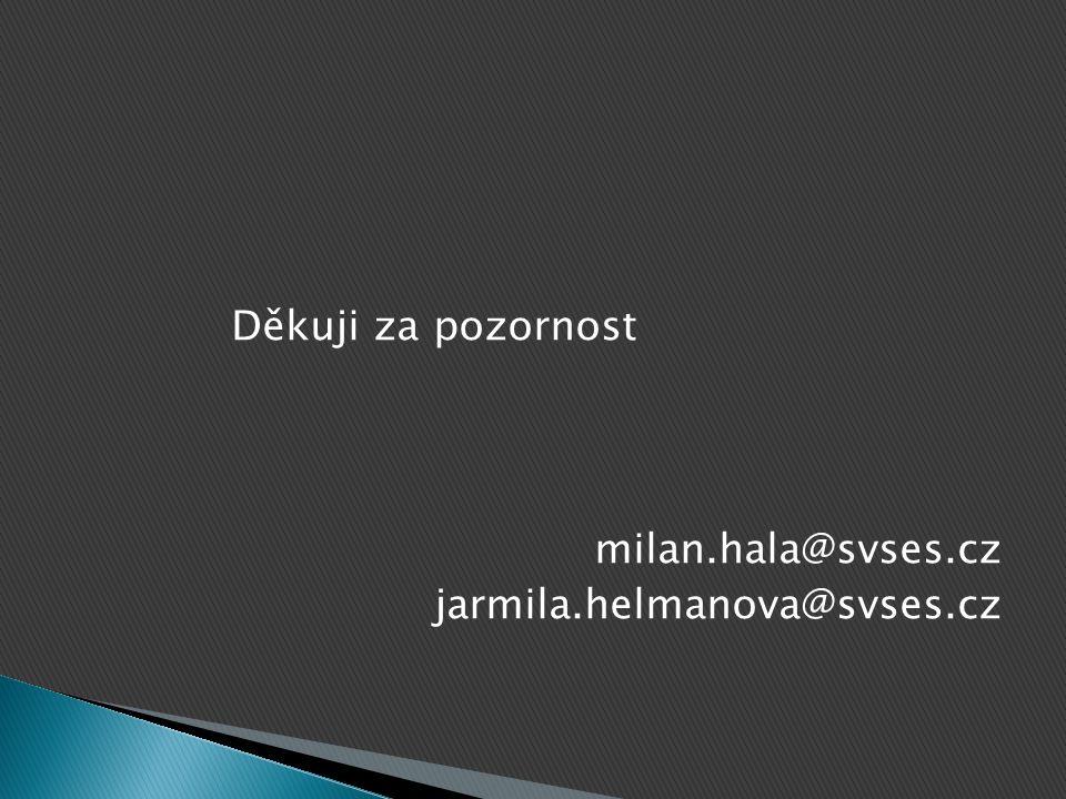 Děkuji za pozornost milan.hala@svses.cz jarmila.helmanova@svses.cz