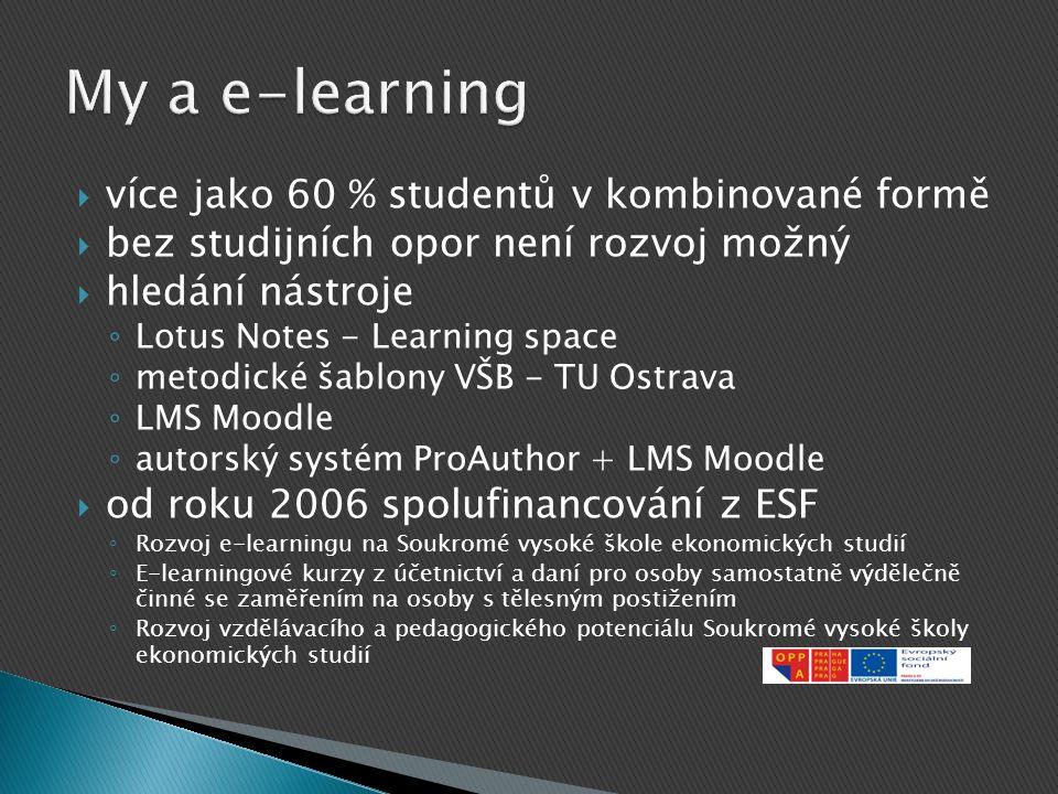 více jako 60 % studentů v kombinované formě  bez studijních opor není rozvoj možný  hledání nástroje ◦ Lotus Notes - Learning space ◦ metodické ša