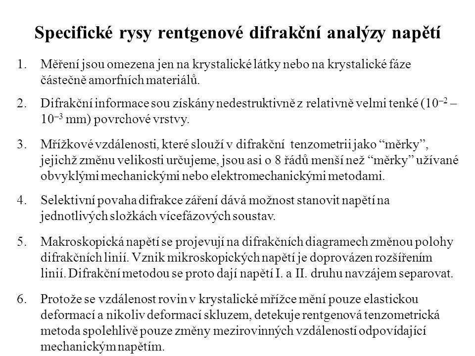 Specifické rysy rentgenové difrakční analýzy napětí 1.Měření jsou omezena jen na krystalické látky nebo na krystalické fáze částečně amorfních materiá
