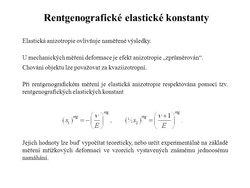 """Rentgenografické elastické konstanty Elastická anizotropie ovlivňuje naměřené výsledky. U mechanických měření deformace je efekt anizotropie """"zprůměro"""