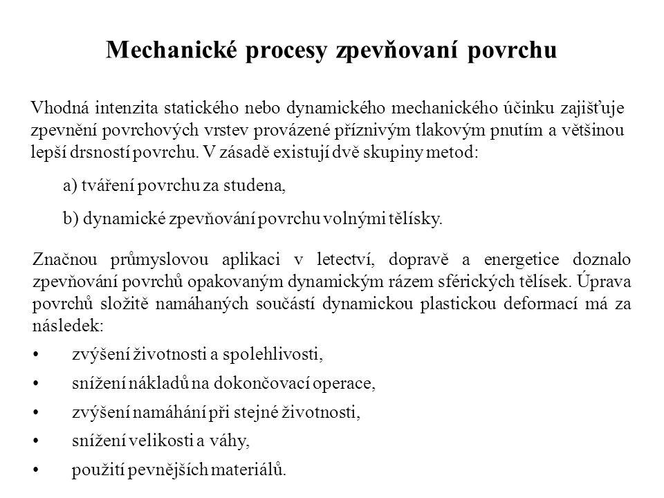 Mechanické procesy zpevňovaní povrchu Vhodná intenzita statického nebo dynamického mechanického účinku zajišťuje zpevnění povrchových vrstev provázené