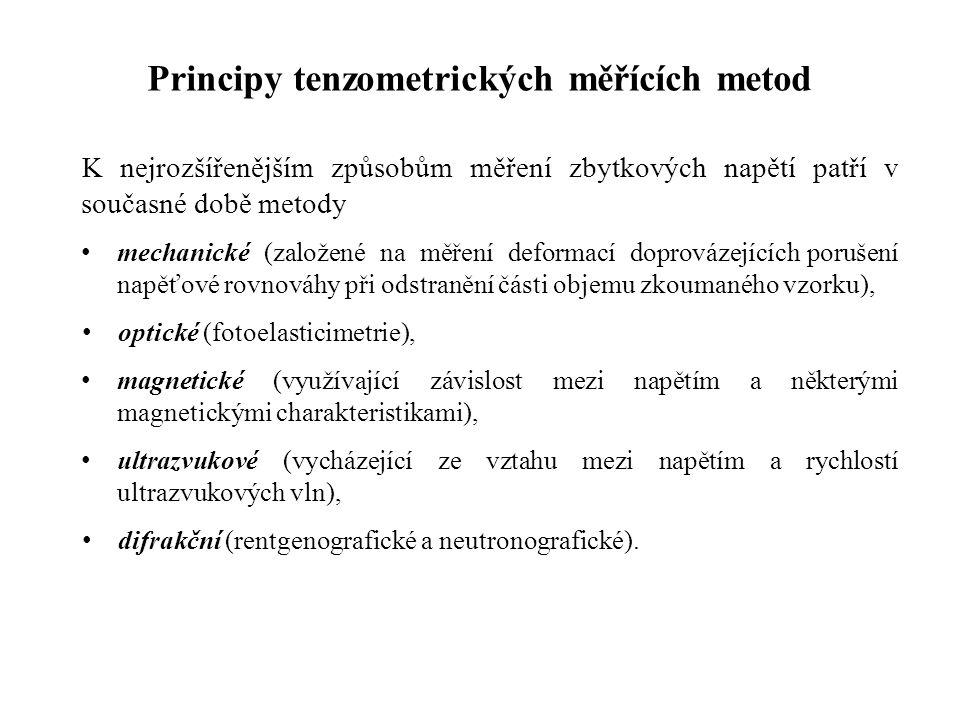 Principy tenzometrických měřících metod K nejrozšířenějším způsobům měření zbytkových napětí patří v současné době metody mechanické (založené na měře