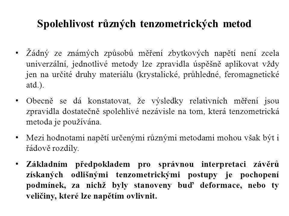 Spolehlivost různých tenzometrických metod Žádný ze známých způsobů měření zbytkových napětí není zcela univerzální, jednotlivé metody lze zpravidla ú
