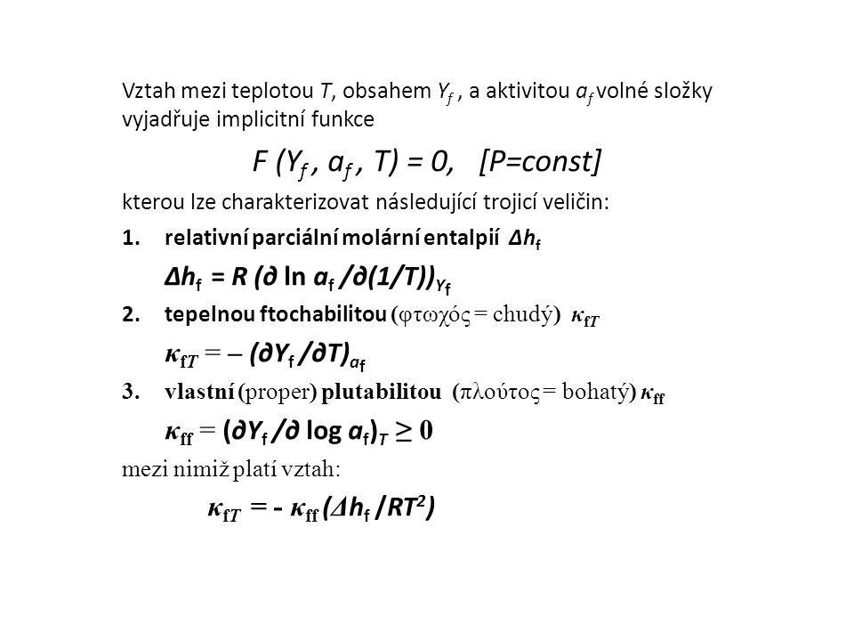 Vztah mezi teplotou T, obsahem Y f, a aktivitou a f volné složky vyjadřuje implicitní funkce F (Y f, a f, T) = 0, [P=const] kterou lze charakterizovat