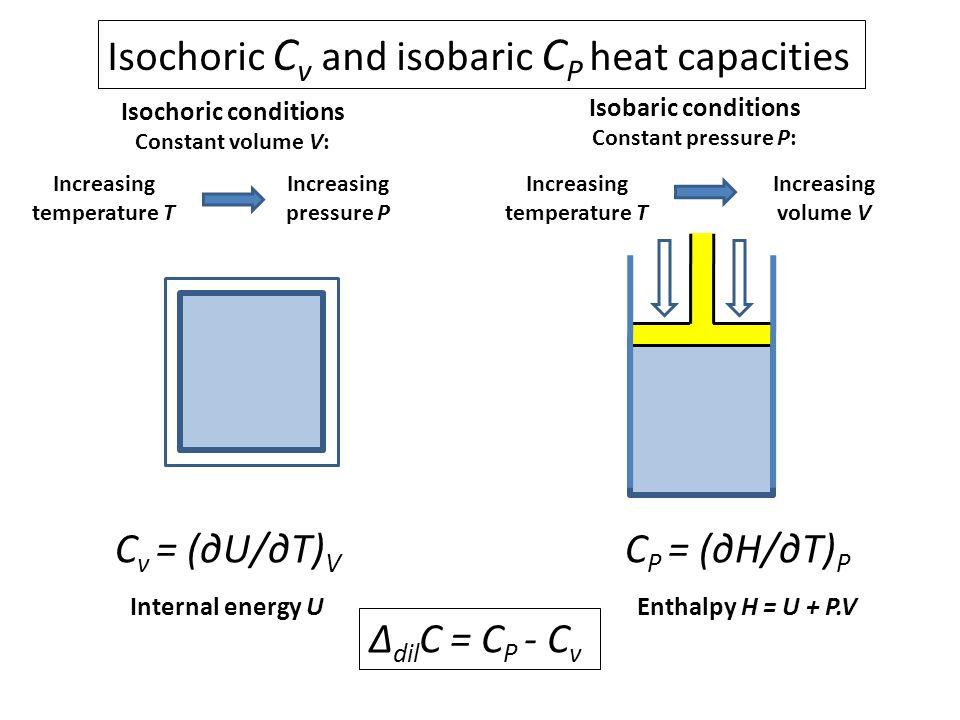 Isochoric C v and isobaric C P heat capacities Isochoric conditions Constant volume V: Increasing temperature T Increasing pressure P Isobaric conditi