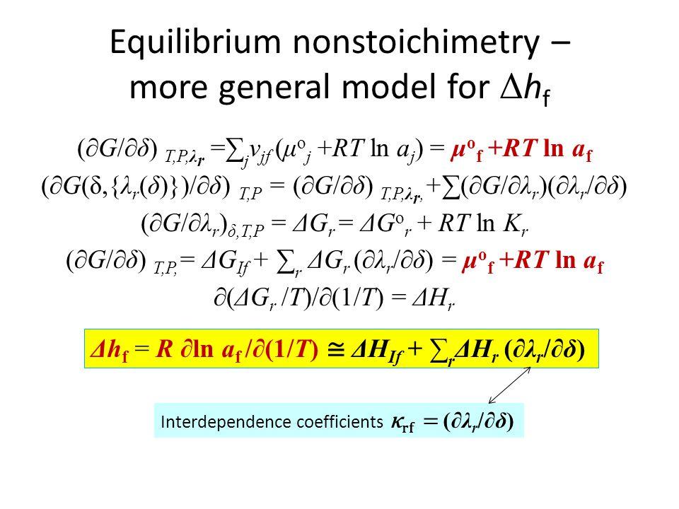 Equilibrium nonstoichimetry – more general model for Δ h f (∂G/∂δ) T,P,λ r =∑ j ν jf (μ o j +RT ln a j ) = μ o f +RT ln a f (∂G(δ,{λ r (δ)})/∂δ) T,P =