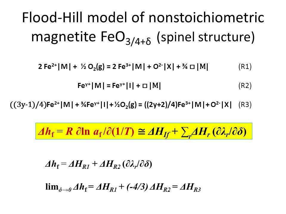 Flood-Hill model of nonstoichiometric magnetite FeO 3/4+δ (spinel structure) 2 Fe 2+ |M| + ½ O 2 (g) = 2 Fe 3+ |M| + O 2- |X| + ¾ □ |M| (R1) Fe y+ |M|