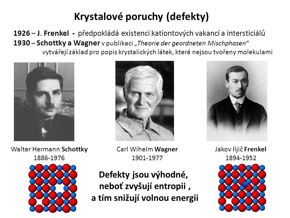 """Krystalové poruchy (defekty) 1926 – J. Frenkel - předpokládá existenci kationtových vakancí a intersticiálů 1930 – Schottky a Wagner v publikaci """"Theo"""