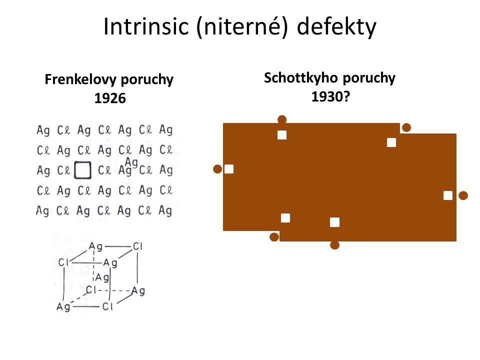 Intrinsic (niterné) defekty Frenkelovy poruchy 1926 Schottkyho poruchy 1930?