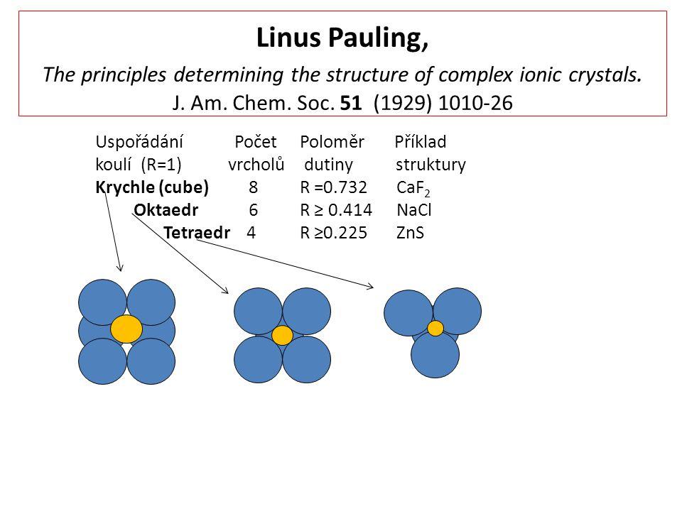 Linus Pauling, The principles determining the structure of complex ionic crystals. J. Am. Chem. Soc. 51 (1929) 1010-26 Uspořádání PočetPoloměr Příklad