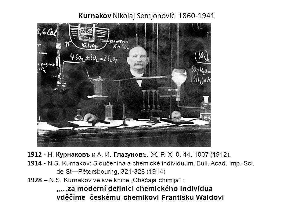 Kurnakov Nikolaj Semjonovič 1860-1941 1912 - H. Курнаковъ и A. И. Глазуновъ. Ж. P. X. 0. 44, 1007 (1912). 1914 - N.S. Kurnakov: Sloučenina a chemické