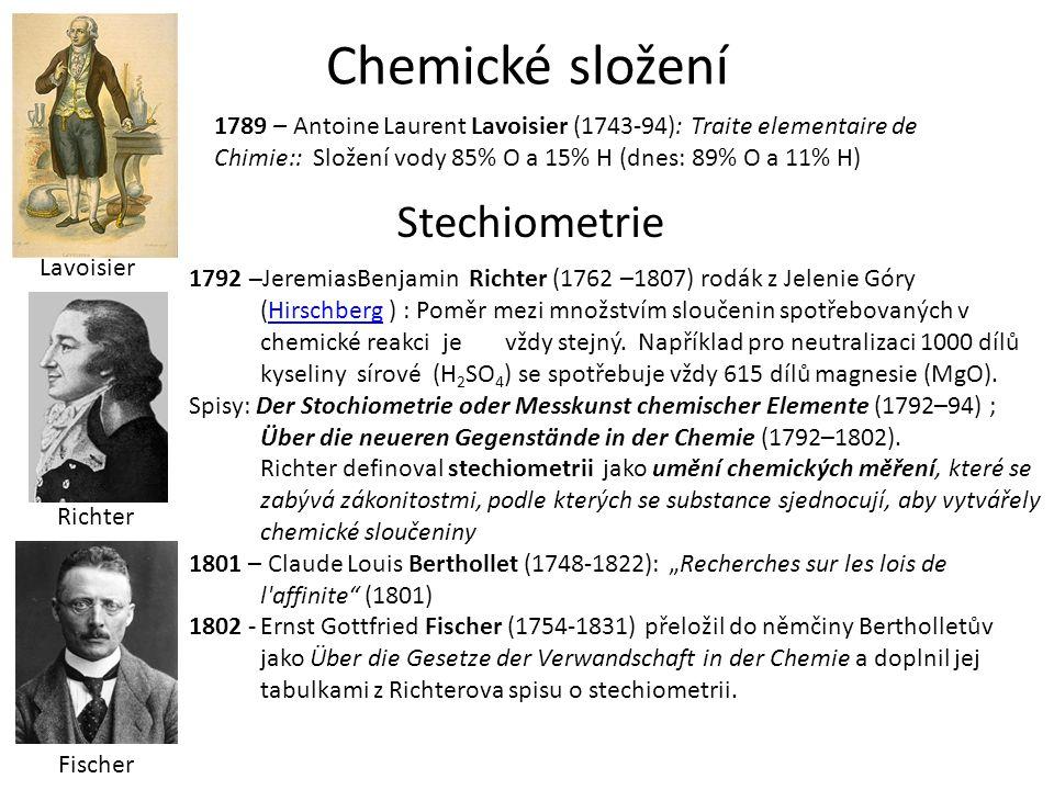 Chemické složení 1789 – Antoine Laurent Lavoisier (1743-94): Traite elementaire de Chimie:: Složení vody 85% O a 15% H (dnes: 89% O a 11% H) 1792 –Jer