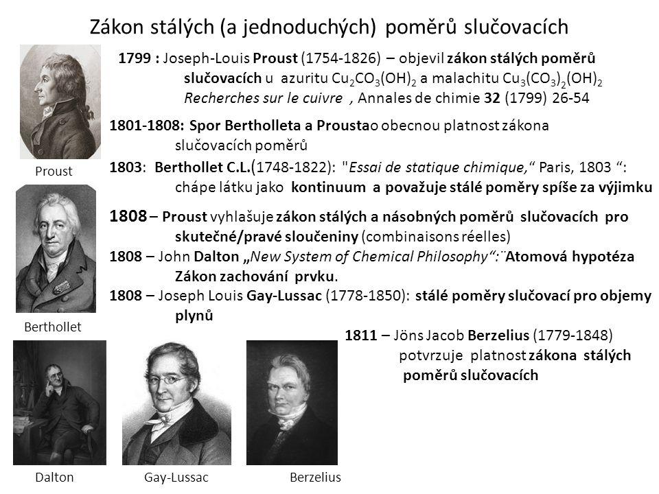Zákon stálých (a jednoduchých) poměrů slučovacích 1801-1808: Spor Bertholleta a Proustao obecnou platnost zákona slučovacích poměrů 1803: Berthollet C