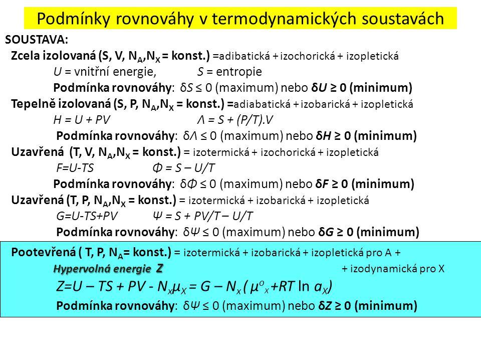 Podmínky rovnováhy v termodynamických soustavách SOUSTAVA: Zcela izolovaná (S, V, N A,N X = konst.) = adibatická + izochorická + izopletická U = vnitř