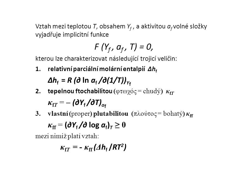 Vztah mezi teplotou T, obsahem Y f, a aktivitou a f volné složky vyjadřuje implicitní funkce F (Y f, a f, T) = 0, kterou lze charakterizovat následují