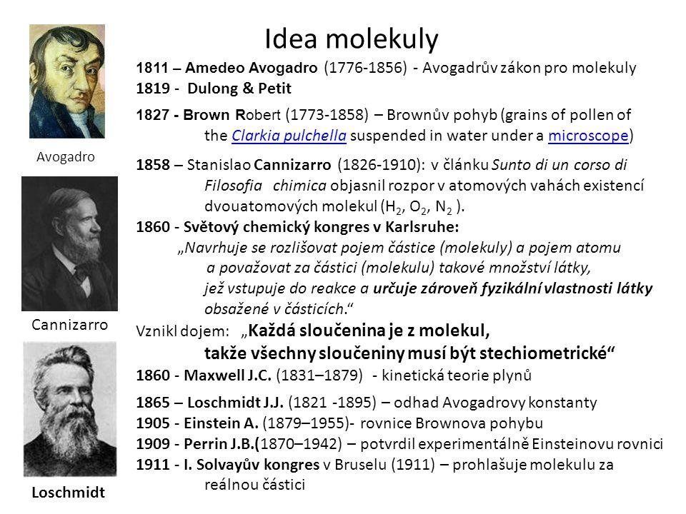 1811 – Amedeo Avogadro (1776-1856) - Avogadrův zákon pro molekuly 1819 - Dulong & Petit 1827 - Brown Robert (1773-1858) – Brownův pohyb (grains of pol