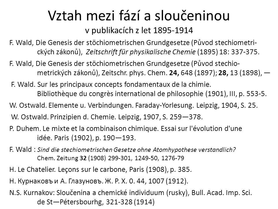 Vztah mezi fází a sloučeninou v publikacích z let 1895-1914 F. Wald, Die Genesis der stöchiometrischen Grundgesetze (Původ stechiometri- ckých zákonů)