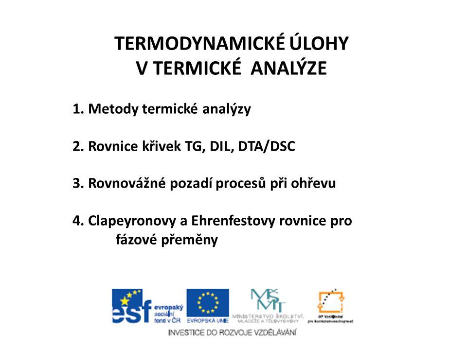 Termodynamické úlohy v termické analýze Pavel Holba, NTC ZČU Plzeň Prosinec 2013