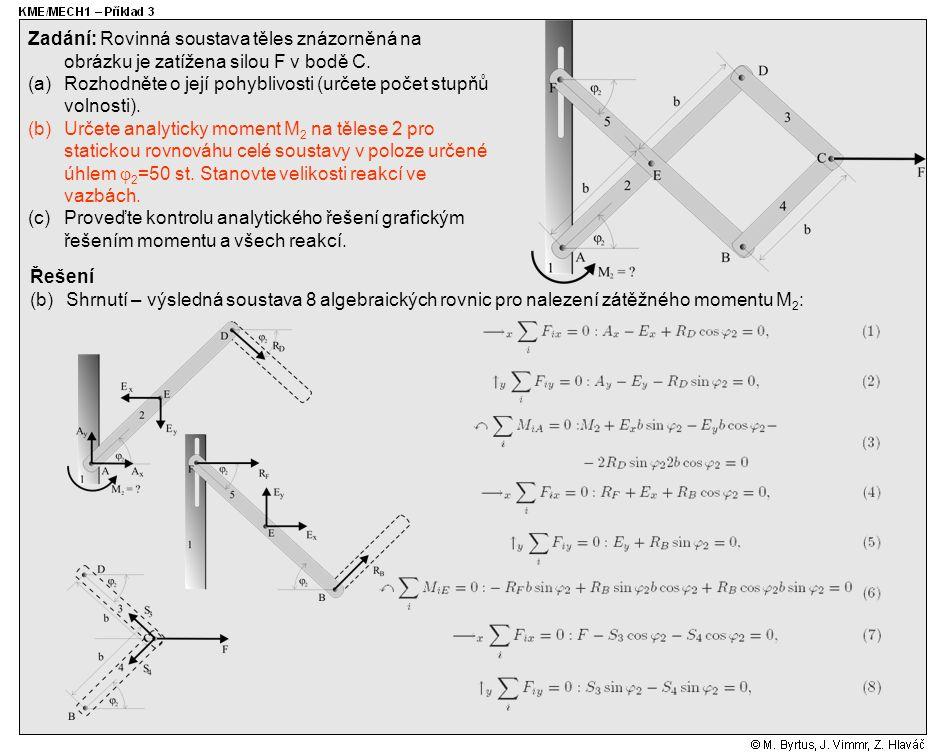 Řešení (b)Shrnutí – výsledná soustava 8 algebraických rovnic pro nalezení zátěžného momentu M 2 : Zadání: Rovinná soustava těles znázorněná na obrázku je zatížena silou F v bodě C.