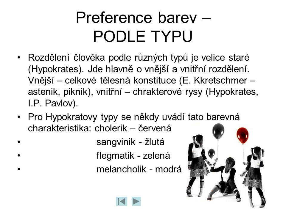 Preference barev – PODLE TYPU Rozdělení člověka podle různých typů je velice staré (Hypokrates). Jde hlavně o vnější a vnitřní rozdělení. Vnější – cel