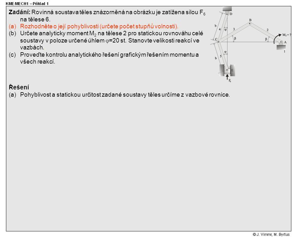 Řešení (a)Pohyblivost a statickou určitost zadané soustavy těles určíme z vazbové rovnice. Zadání: Rovinná soustava těles znázorněná na obrázku je zat