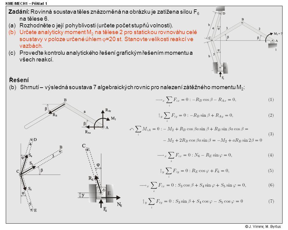 Řešení (b)Shrnutí – výsledná soustava 7 algebraických rovnic pro nalezení zátěžného momentu M 2 : Zadání: Rovinná soustava těles znázorněná na obrázku