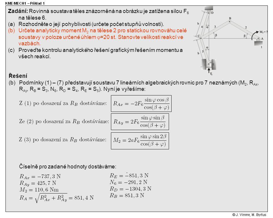 Řešení (b)Podmínky (1) – (7) představují soustavu 7 lineárních algebraických rovnic pro 7 neznámých (M 2, R Ax, R Ay, R B = S 3, N 6, R D = S 4, R E =