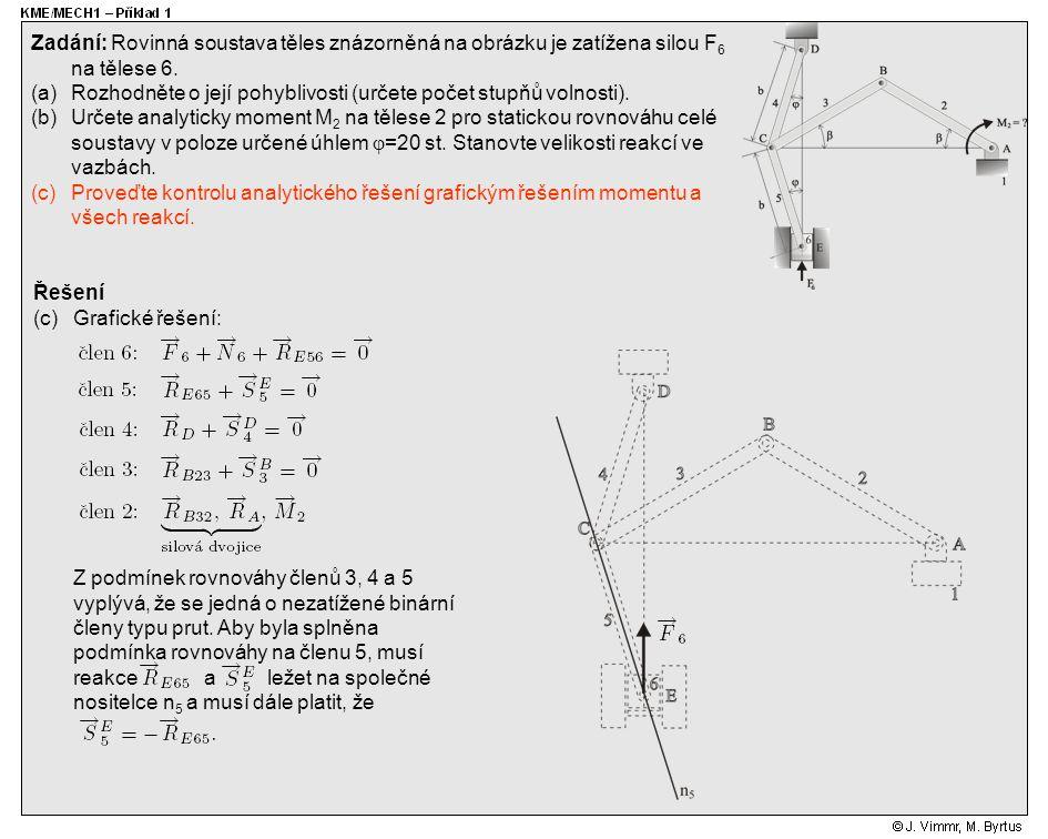 Řešení (c)Grafické řešení: Zadání: Rovinná soustava těles znázorněná na obrázku je zatížena silou F 6 na tělese 6. (a)Rozhodněte o její pohyblivosti (