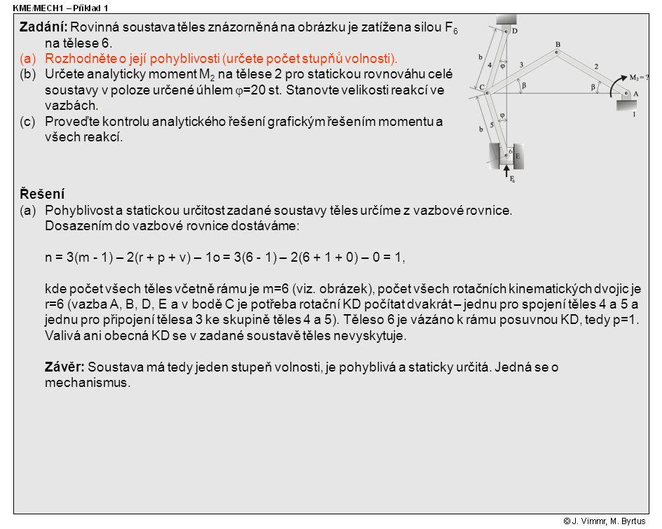 Řešení (a)Pohyblivost a statickou určitost zadané soustavy těles určíme z vazbové rovnice. Dosazením do vazbové rovnice dostáváme: n = 3(m - 1) – 2(r