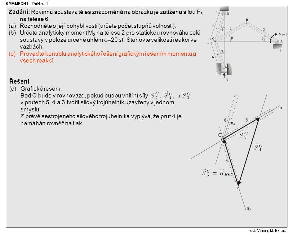 Řešení (c)Grafické řešení: Bod C bude v rovnováze, pokud budou vnitřní síly v prutech 5, 4 a 3 tvořit silový trojúhelník uzavřený v jednom smyslu. Z p