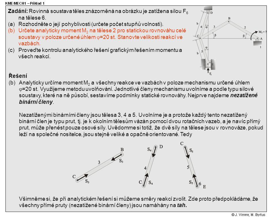 Řešení (b)Analyticky určíme moment M 2 a všechny reakce ve vazbách v poloze mechanismu určené úhlem  =20 st. Využijeme metodu uvolňování. Jednotlivé