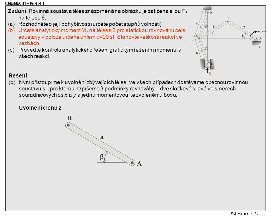 Řešení (c)Grafické řešení: Zadání: Rovinná soustava těles znázorněná na obrázku je zatížena silou F 6 na tělese 6.