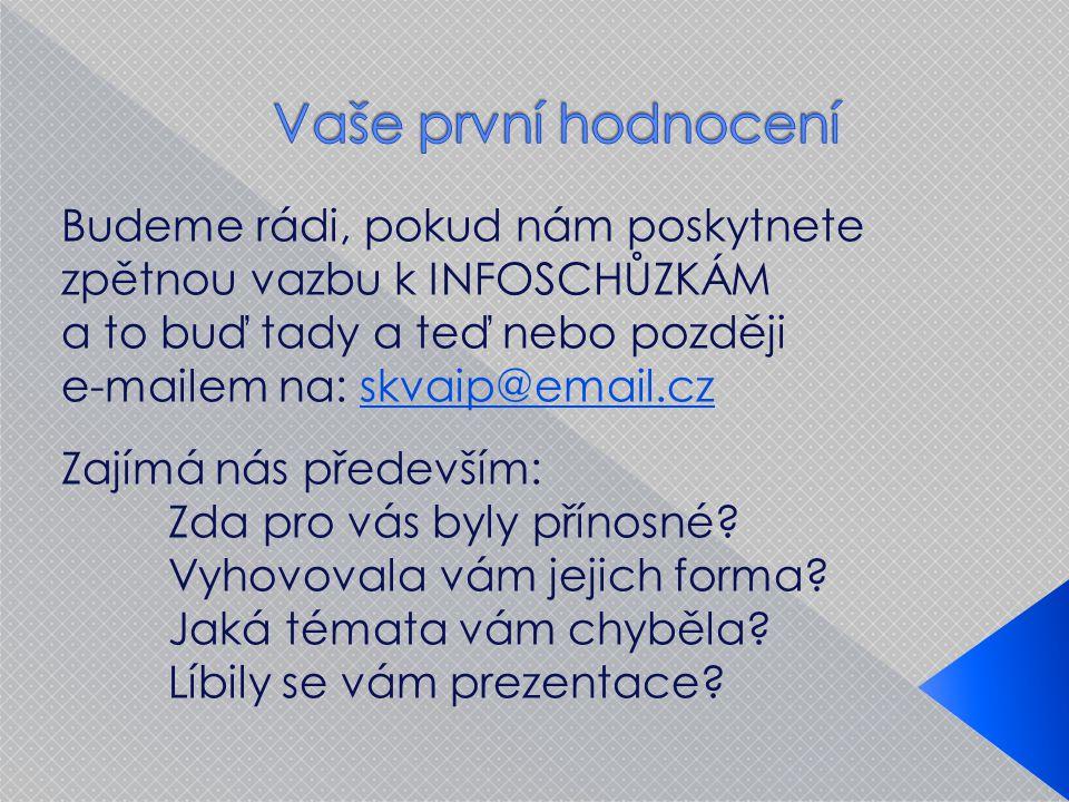 Budeme rádi, pokud nám poskytnete zpětnou vazbu k INFOSCHŮZKÁM a to buď tady a teď nebo později e-mailem na: skvaip@email.cz Zajímá nás především: Zda pro vás byly přínosné.
