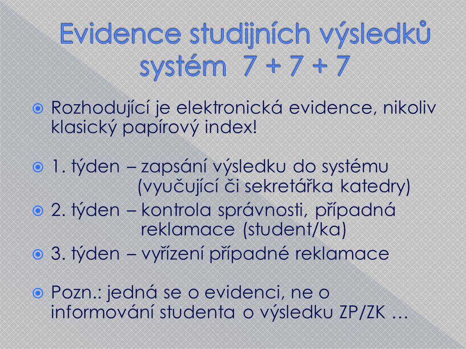  Rozhodující je elektronická evidence, nikoliv klasický papírový index.
