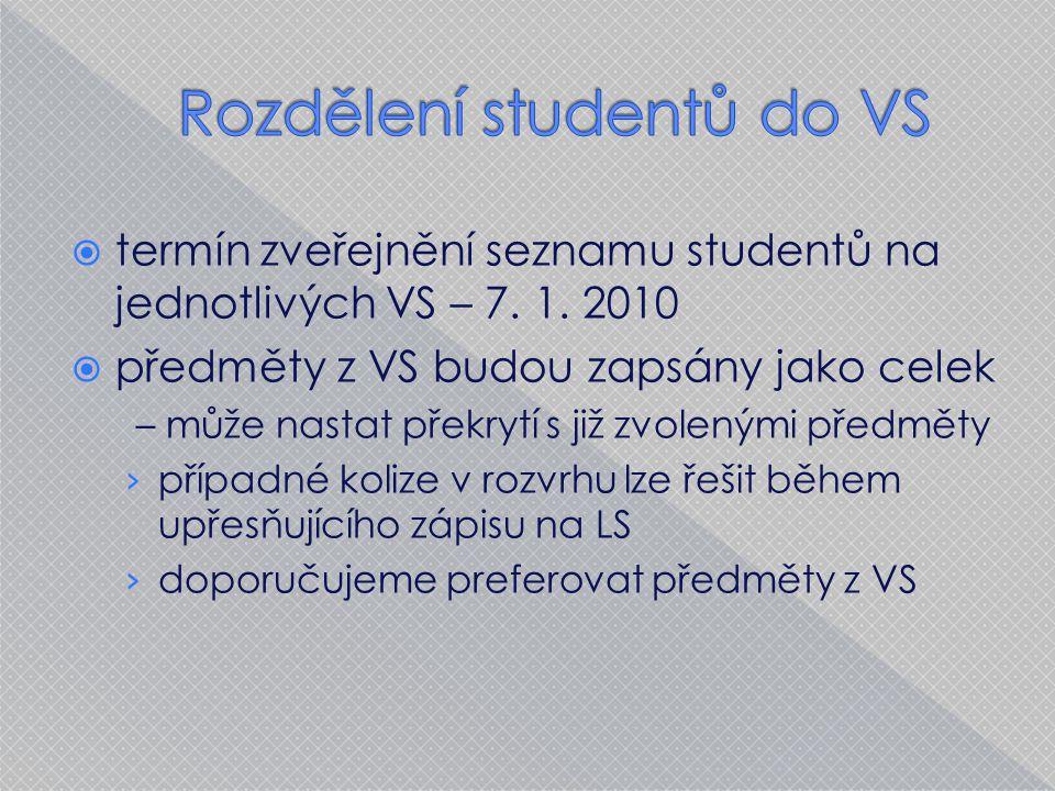  termín zveřejnění seznamu studentů na jednotlivých VS – 7.