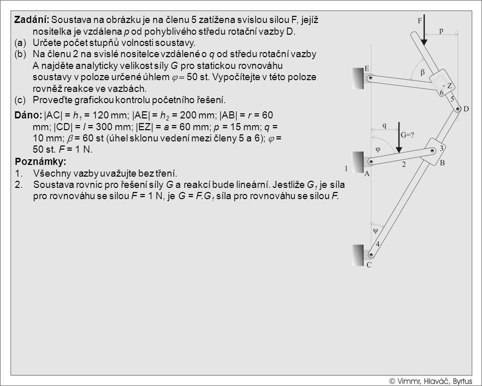 Řešení (a)Počet stupňů volnosti určíme dvojím způsobem: Zadání: Soustava na obrázku je na členu 5 zatížena svislou silou F, jejíž nositelka je vzdálena p od pohyblivého středu rotační vazby D.