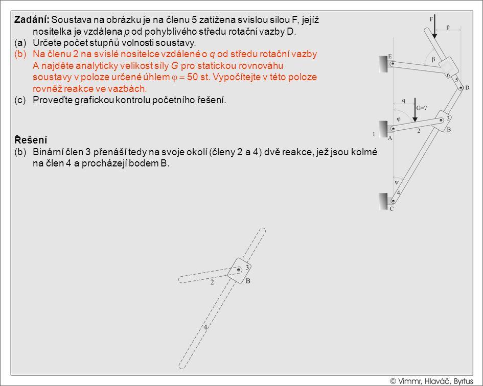 Řešení (b)Binární člen 3 přenáší tedy na svoje okolí (členy 2 a 4) dvě reakce, jež jsou kolmé na člen 4 a procházejí bodem B. Zadání: Soustava na obrá