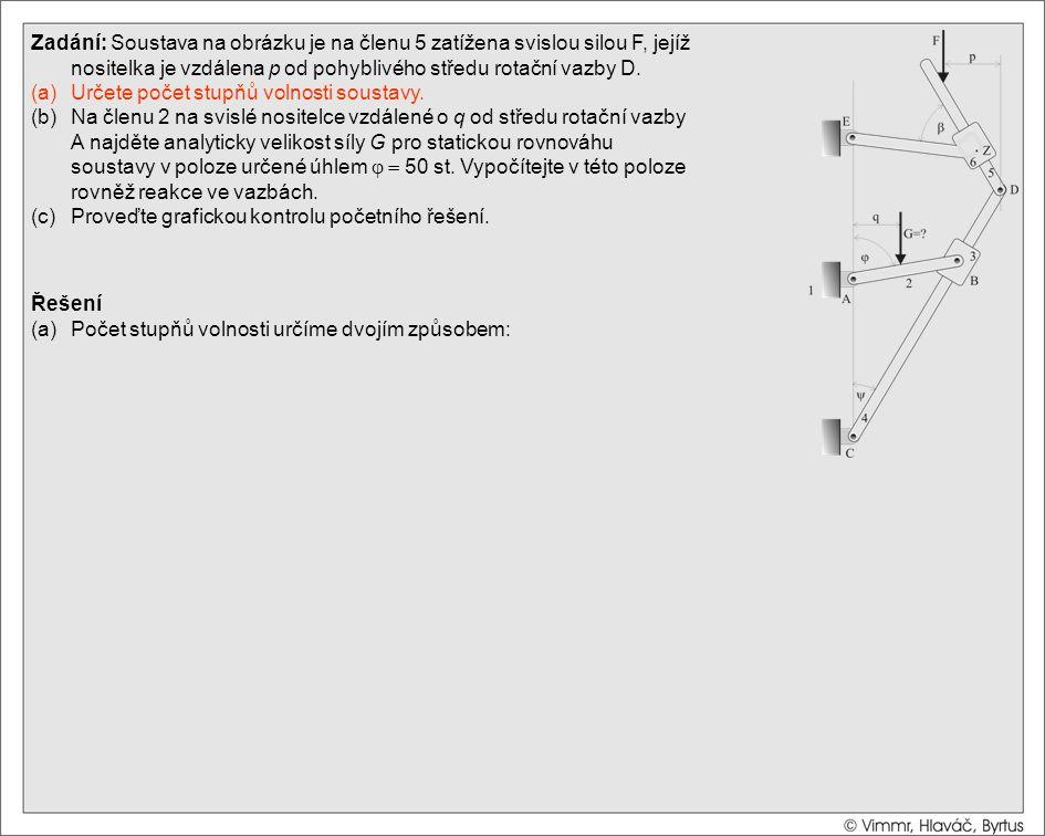 Řešení (a)Počet stupňů volnosti určíme dvojím způsobem: (1) Nejprve z vazbové rovnice Zadání: Soustava na obrázku je na členu 5 zatížena svislou silou F, jejíž nositelka je vzdálena p od pohyblivého středu rotační vazby D.