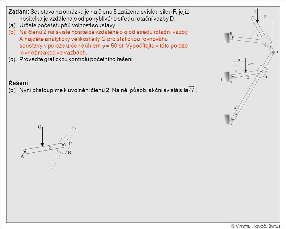 Řešení (b)Nyní přistoupíme k uvolnění členu 2. Na něj působí akční svislá síla, Zadání: Soustava na obrázku je na členu 5 zatížena svislou silou F, je