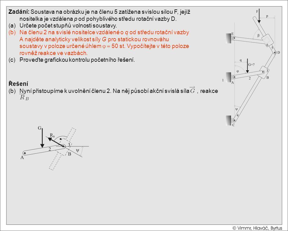 Řešení (b)Nyní přistoupíme k uvolnění členu 2. Na něj působí akční svislá síla, reakce Zadání: Soustava na obrázku je na členu 5 zatížena svislou silo