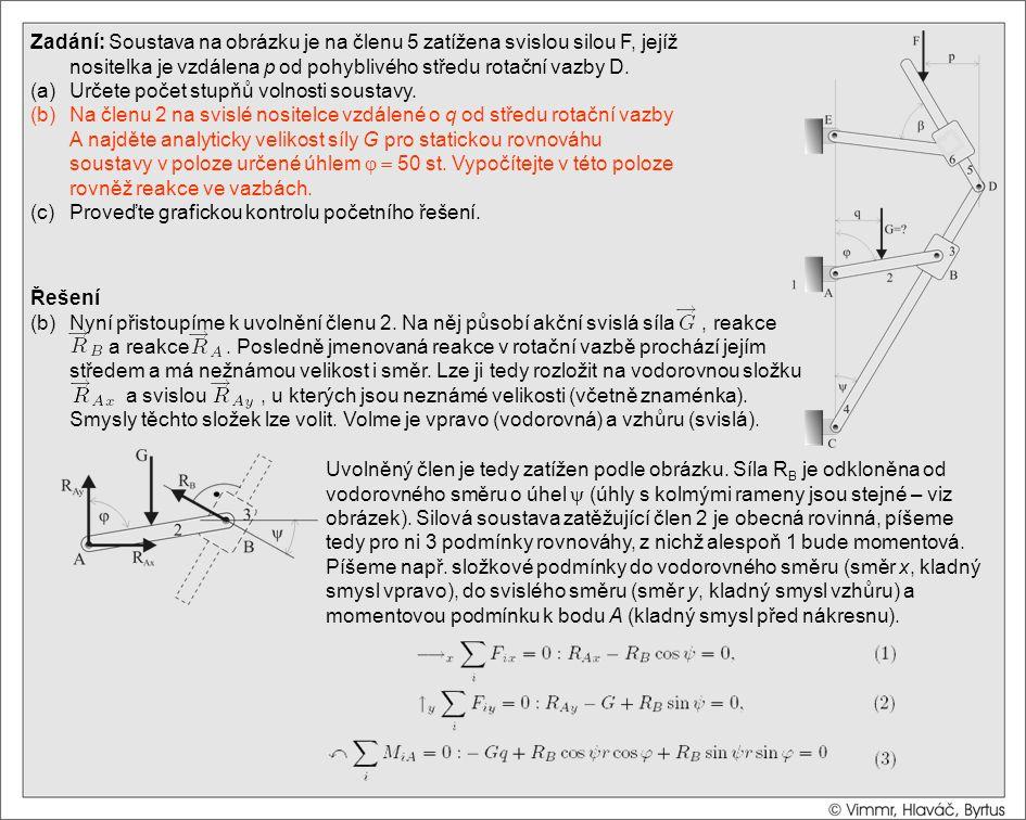 Řešení (b)Nyní přistoupíme k uvolnění členu 2. Na něj působí akční svislá síla, reakce a reakce. Posledně jmenovaná reakce v rotační vazbě prochází je