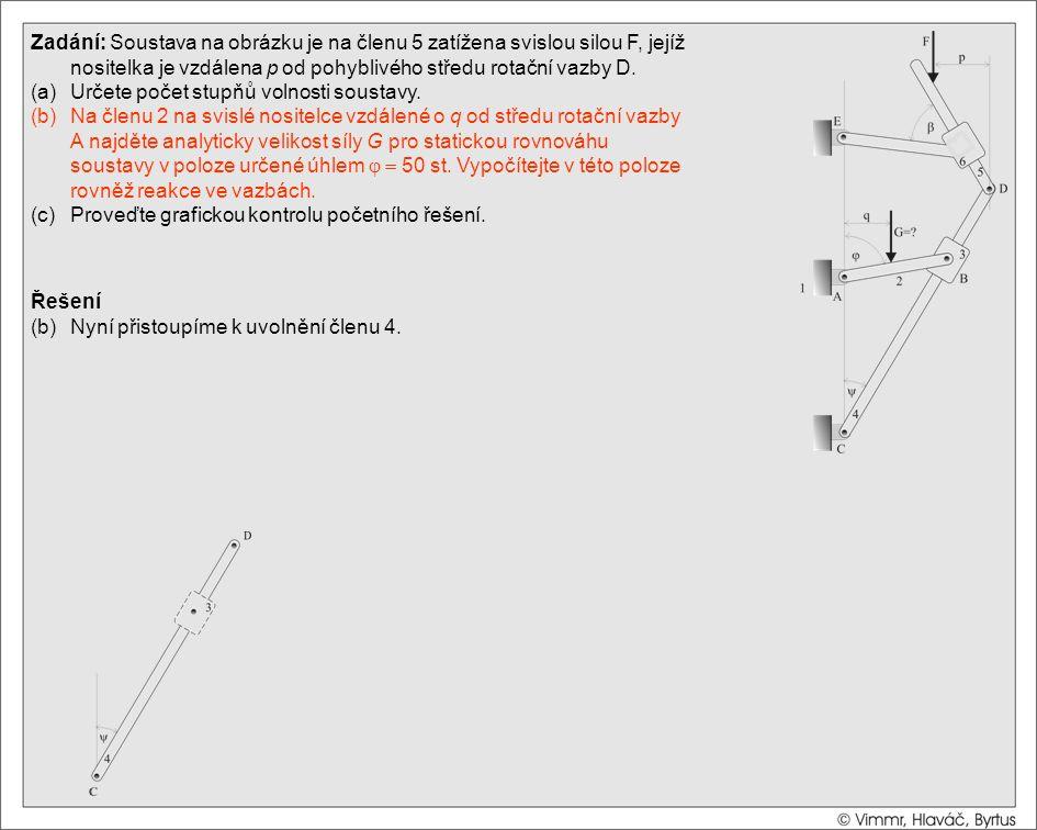 Řešení (b)Nyní přistoupíme k uvolnění členu 4. Zadání: Soustava na obrázku je na členu 5 zatížena svislou silou F, jejíž nositelka je vzdálena p od po