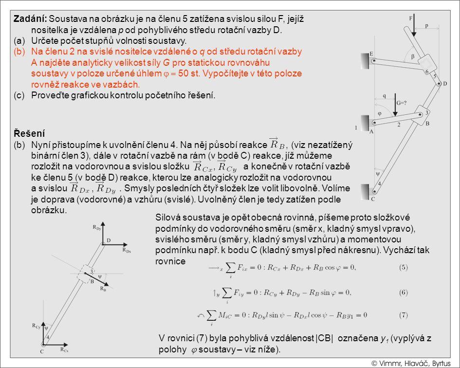 Řešení (b)Nyní přistoupíme k uvolnění členu 4. Na něj působí reakce, (viz nezatížený binární člen 3), dále v rotační vazbě na rám (v bodě C) reakce, j