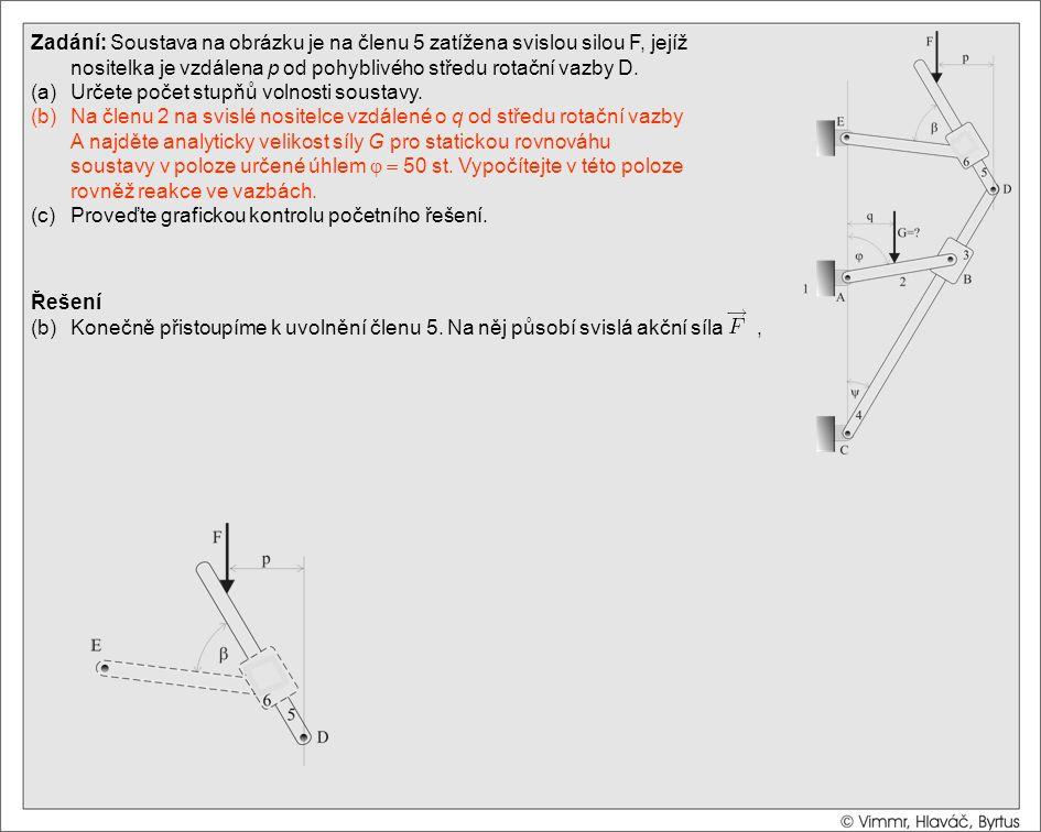 Řešení (b)Konečně přistoupíme k uvolnění členu 5. Na něj působí svislá akční síla, Zadání: Soustava na obrázku je na členu 5 zatížena svislou silou F,