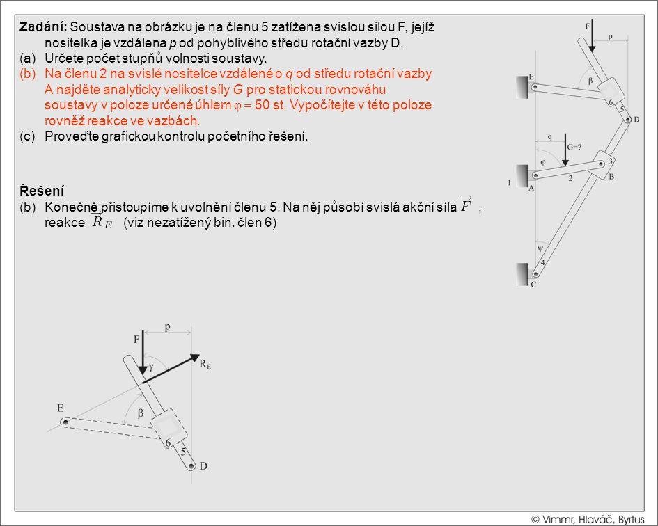 Řešení (b)Konečně přistoupíme k uvolnění členu 5. Na něj působí svislá akční síla, reakce (viz nezatížený bin. člen 6) Zadání: Soustava na obrázku je