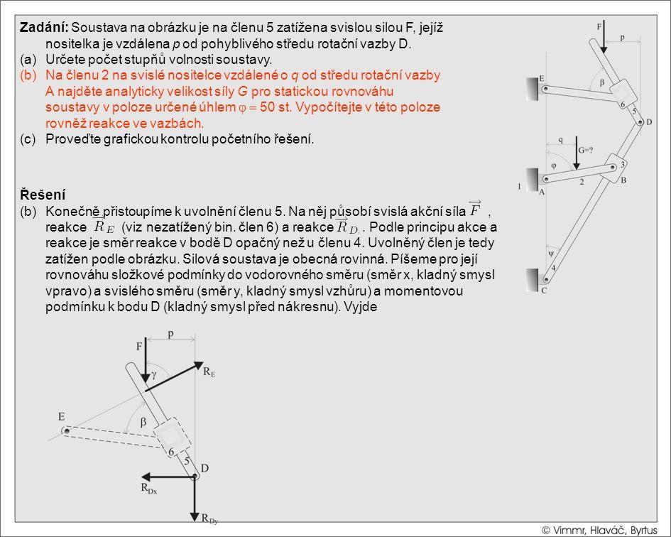 Řešení (b)Konečně přistoupíme k uvolnění členu 5. Na něj působí svislá akční síla, reakce (viz nezatížený bin. člen 6) a reakce. Podle principu akce a